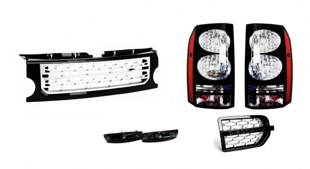 LR DISCOVERY 3 BLACK LED TAIL LIGHTS FRONT BLACK & SILVER